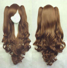 Fashion Lolita Brown Long Wavy Ponytail Cosplay Party Wig Hair Girl D1#