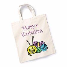 Personalised Name Knitting Bag Canvas Tote Shopping Bag Printed Shopper Bag Gift