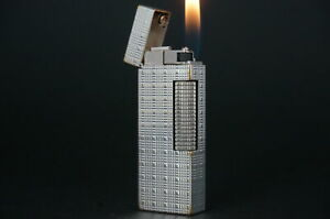 Dunhill Rollagas Lighter  Square Tartan Silver plated Working #W11