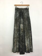 T-BAGS Los Angeles Women's A Line Draped Maxi Skirt Metallic Black S $189
