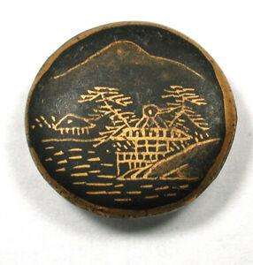 "Vintage Porcelain Kutani Button Black & Gold Mt Fuji & Village 3/4"""