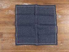 ISAIA Napoli blue wool silk mix polka dots pocket square authentic - NWOT