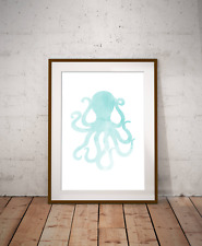 Under The Sea Octopus Art Print,Nautical Sea Decor, Bathroom Art, Marine Life