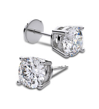 14K WHITE GOLD 1/2 CTW SOLITAIRE VS2-SI1 G-H DIAMOND STUD BASKET SET EARRINGS