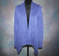 AB Studio Women's Medium Blue Knit Long Sleeve Open Front Cardigan Sweater Top