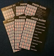 Texas Holdem Poker Hand Guide: 6 * A5 Double-Sided Cards