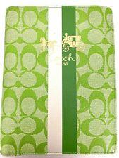 Coach Green White Leather Heritage Stripe Passport Case/Holder/Wallet  8.5 x 6.5