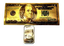 1 TROY OUNCE .999 FINE SILVER BUFFALO BAR BU  + 1 99.9% 24K GOLD $100 BILL