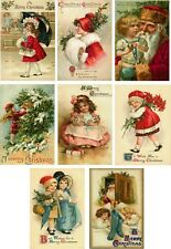 Christmas vintage child Santa  pictures on cards scrapbooking crafts set of 8