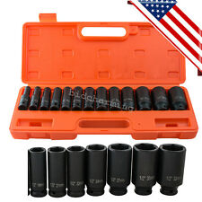 "USA 1/2"" in. Drive Deep Impact Socket kit Set 10-32mm Metric Garage wrench tool"