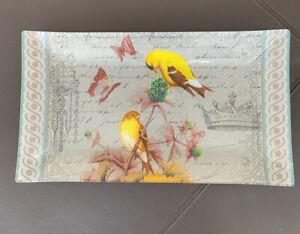 Notions Gold Finch Rectangle Glass Tray Yellow Birds Butterflies Crown Garden