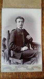1890'S SUPERB CABINET CARD PHOTOGRAPH & TISSUE GUARD - W GOTHARD BARNSLEY YORKS