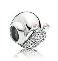 925 Sterling Silver Sparkling Snail Charm Clear Pink Orchid CZ Fit Bracelet New