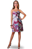 Ladies Short Dress white paisley NEW size 8 10 12 14 16 18 20 22 NEW Holiday?