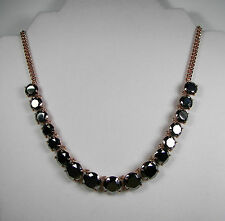 Fossil Brand Gunmetal Glamour Rose Gold Tone Hematite Glass Necklace MSRP $68