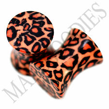 0190 Double Flare Acrylic Leopard Cheetah Print Saddle Ear Plugs 2G Gauge 6mm