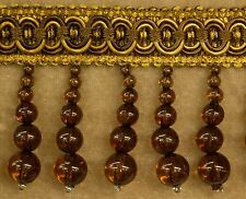 "5 Yards  Beaded FRINGE Trim Brown Color  2 1/2"" Drop  DRAPERY & UPHOLSTERY"
