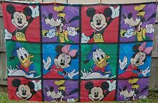 Disney Mickey Mouse Twin Flat Bed Sheet Color Block Minnie Vtg Fabric Material