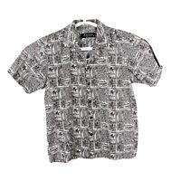 Favant Hawaiian Shirt Floral USA Mens Medium 90s Aloha Cotton Gray Button Up