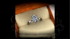 4.60Ct Pear Sparkle Moissanite Attractive Engagement Ring 14K White Gold Finish