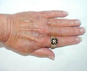 Vintage 10k Black Hills Gold Onyx Double Eagle Men's Ring 7.76 Grams Size 9.75