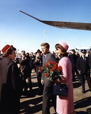 President and Mrs. Kennedy arrive at Dallas Love Field JFK - New 8x10 Photo