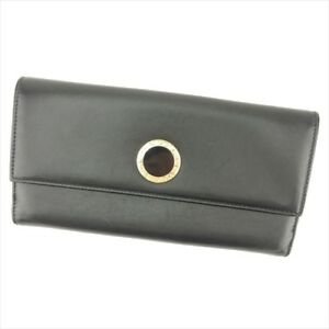 Bvlgari Wallet Purse Long Wallet Black leather Woman unisex Authentic Used T9054