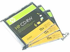 3 Pieces HP Logo 12X CD-RW CDRW ReWritable Blank Disc 700MB in Slim Jewel Case