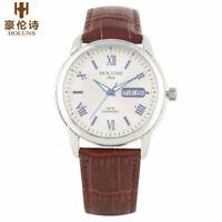 Luxury HOLUNS Men's Business Date Quartz Wrist Watch Leather Strap Bracelet