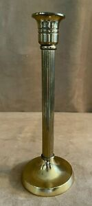 """Vintage brass candlestick holder 10"""" high Made in England candle stick cf c f"""