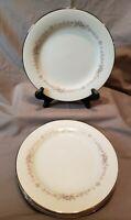 "Vintage Noritake Rosepoint Fine China 6206 Salad Plate  8 1/4"" Platinum Edg (4)"