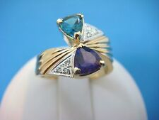 14K YELLOW GOLD TRILLION AMETHYST, BLUE TOPAZ AND PAVE DIAMONDS LADIES RING