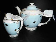 CYNTHIA ROWLEY EASTER COFFEE/ TEA POT CREAMER SET 2 GOLD POLKA DOTS BLUE TEA CUP