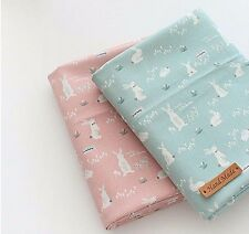 Candy floss rabbit 100% Cotton Fabric BY HALF YARD rabbits pink mint ffB204+