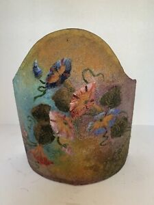 VINTAGE Venetian Wall Sconce Shade Clip On Half Shade HAND PAINTED Mica FLOWERS