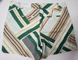 """Ann Taylor Factory The 6"""" Shorts Size 10 Short Multicolored Geometric Lines"""