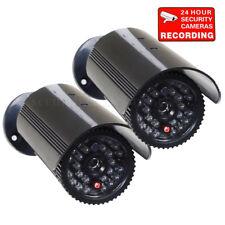 2x Dummy Security Camera Fake Infrared Leds Flashing Light Cctv Surveillance bfb