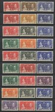 British Commonwealth 1937 KGVI Coronation 9 Sets Mounted Mint