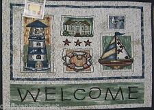 Tapestry Kitchen Mat Rug Accent 19 X 27 Welcome Lighthouse Sailboat Nautical