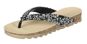 Womens Summer Glitter Comfort Casual Thong Flat Flip Flops Sandals Slipper Shoes
