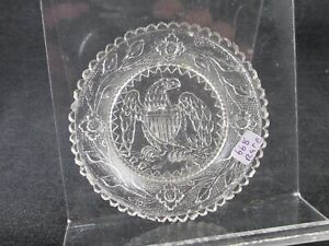1830S CUP PLATE FLINT ROSE LEE 668 RARE EAGLE LACY CLEAR GLOWS 3 1/16 IN PITTSB