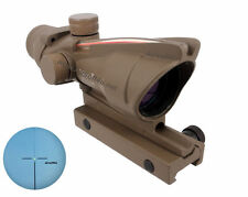 Tan Real Fiber Optic Red illuminated 4x32 Rifle Scope BDC M.acog.raf reticle