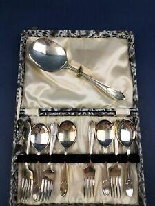 Vintage EPNS Fruit / Dessert Spoon, Fork & Serving Spoon set Boxed (AS76)