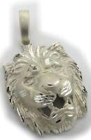 Anhänger Löwe Kopf echt Silber 925 mattiert diamantiert Raubkatze Sterlingsilber