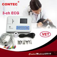 ECG EKG Machine électrocardiographe electrocardiograph 3-CH FOR VET ,ANIMAL USE