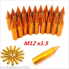 20pc 60mm Golden M12X1.5 Spiked Lug Nuts Aluminum Extended Tuner Wheels/Rims Set