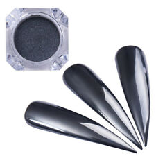 Nail Art Mirror Black Glitter Powder Dust Chrome Pigment UV Gel Polish W/Brush