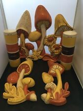 Vintage Rare 1974 Miller Studio Mushroom Chalkware 3 Piece Wall Set +Tupperware!
