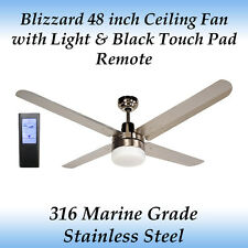 "Blizzard 48"" Stainless Steel Ceiling Fan with Light and Black Touch Pad Remote"