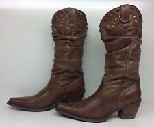 WOMENS STEVE MADDEN SNIP TOE COWBOY LEATHER BROWN BOOTS ?